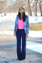 pink Khols top - printed H&M blazer - blue TJMaxx pants - cap toe Zara heels