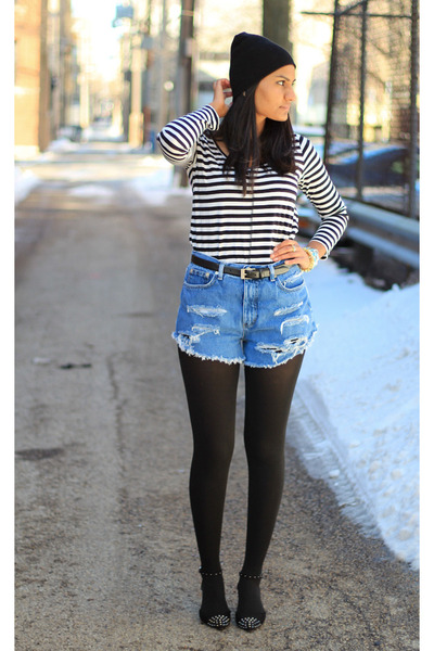 ankle strap Zara heels - beanie north face hat - distressed DIY shorts