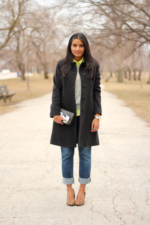 neon Old Navy blouse - wool Anne Klein coat - skinny abercrombie and fitch jeans