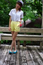gray Original Penguin hat - white vintage top - yellow lucca couture shorts - bl