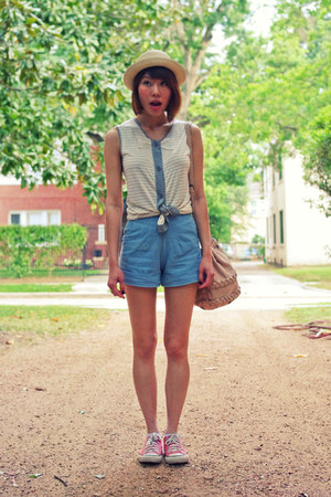 sky blue highwaisted Rojas shorts - beige boater Forever 21 hat