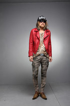 red BYTHER jacket - black BYTHER hat - jeans pants