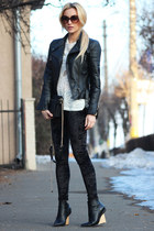 Zara jacket - Choies boots - romwe leggings - Zara bag - Zara blouse