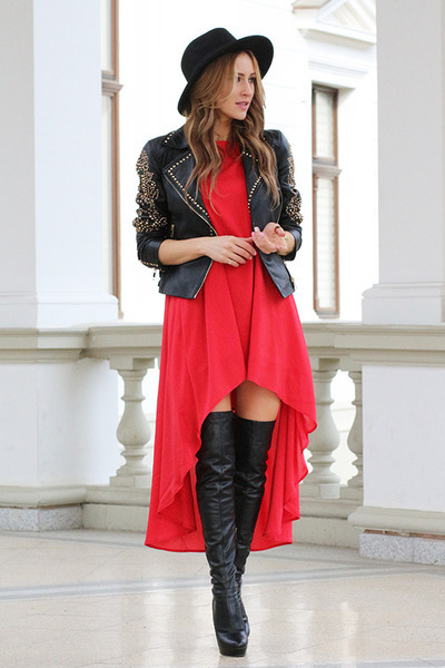 PERSUNMALL boots - romwe dress - H&M hat - Zara jacket