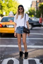 cap coat - bag - studded jeans shorts - sunglasses - H&M t-shirt