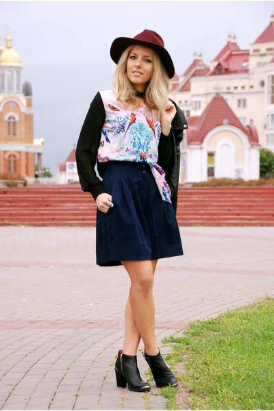 bubble gum PERSUNMALL blouse - black ankle boots reserved boots