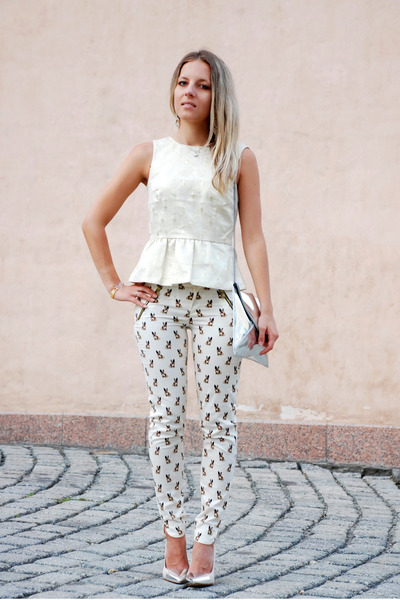 mirror silver Zara bag - dog print Zara pants - cream peplum H&M top