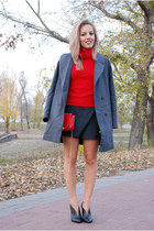 red angora wool sweater - heather gray double breasted Choies coat
