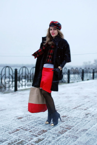 black asos boots - black kira plastinina coat - red plaid vintage hat