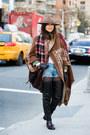 Black-boots-tawny-flannel-coat-camel-cowboy-hat