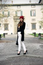 white Massimo Dutti pants - black cinti shoes - black elena miro coat