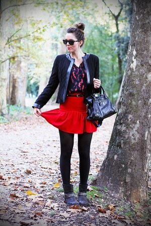 red Sheinside skirt - black sarenzait boots - black Rinascimento jacket