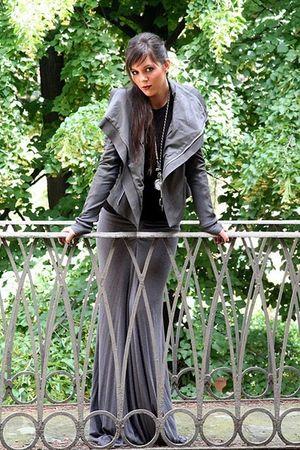 gray Rick Owens jacket - gray Rick Owens skirt - black Maria Zureta necklace