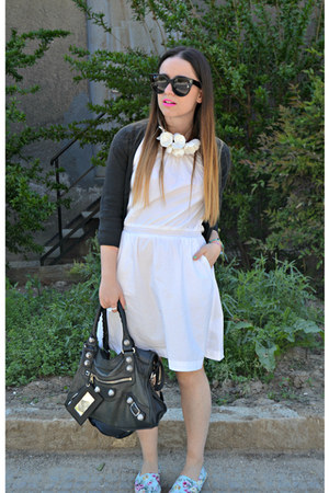 black Zara bag - black balenciaga bag - white H&M dress