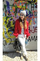 red DSquared jacket - heather gray Sisley hat - black balenciaga bag