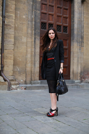 black La Redoute coat - black Prada bag - black romwe skirt - black asos top