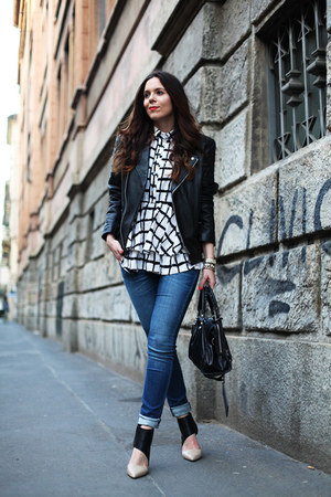 black asos jacket - navy Geox jeans - white Sheinside shirt