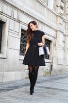 white dior bag - black project 149 dress - black Roger Vivier heels