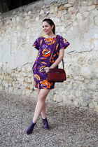 purple Georgia Rose shoes - purple Parosh dress - dark brown The Bridge bag