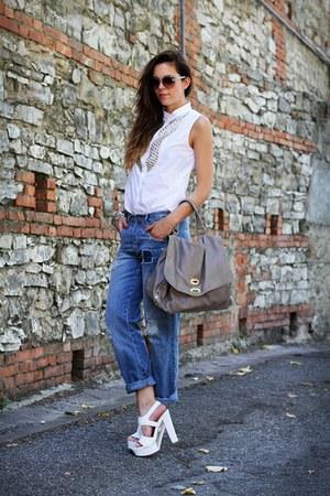 heather gray postina zanellato bag - navy asos jeans - white Stefanel shirt