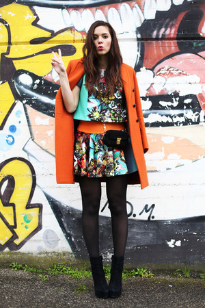 black Coccinelle bag - carrot orange aspesi coat - sky blue milly skirt