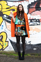carrot orange aspesi coat - black Coccinelle bag - sky blue milly skirt