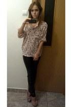 shirt - leather pants pants - bracelet - heels
