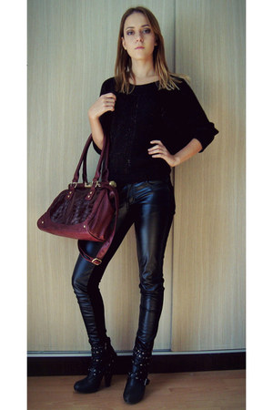 brick red bag - black boots - dark brown sweater - black leather pants