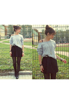 black boots - black skirt - heather gray blouse