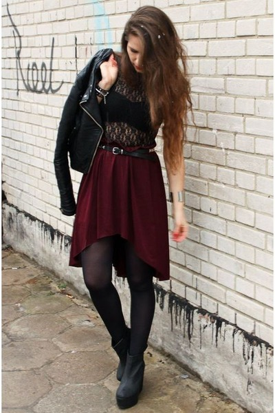 brick red skirt - black jacket - black wedges - black bodysuit