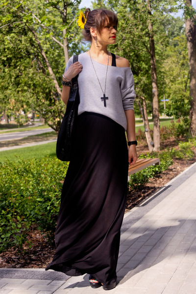 black dress - heather gray blouse - silver necklace