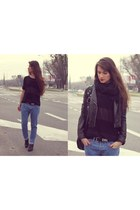 black jacket - black boots - sky blue jeans - black blouse