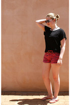 zebra moto shorts - H&M shoes - aviator unknown sunglasses
