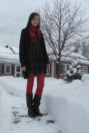 deep purple Forever 21 dress - red unknown tights