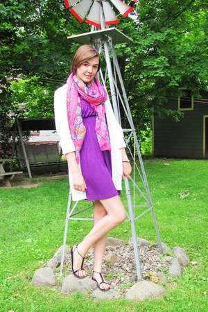 bubble gum unknown scarf - purple Forever 21 dress - white H&M cardigan
