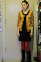 red tights - gold sweater - black boots - black dress