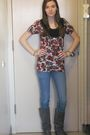 Red-charlotte-russe-top-blue-forever-21-jeans-gray-charlotte-russe-boots