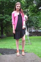 black Old Navy dress - pink sweater - brown Rainbow shoes shoes