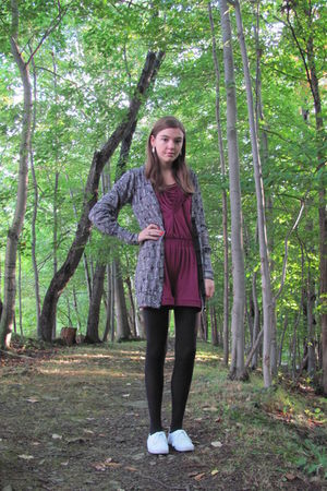 gray Forever 21 cardigan - pink - black tights - white Keds shoes