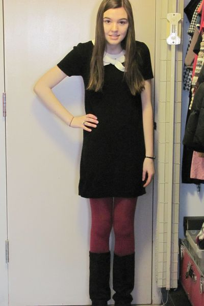 pink h m tights black dresses black boots quot test day