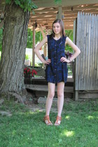 black ecote dress - blue dress - dark brown unknown sandals