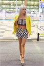 Yellow-zara-blazer-checkered-zara-shorts-zara-heels-topshop-top