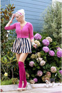 Black-oasap-dress-hot-pink-knee-high-american-apparel-socks