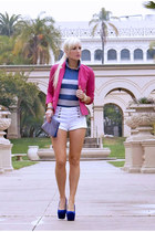 blue Dama Handbags bag - hot pink Nordstrom blazer - white Forever 21 shorts