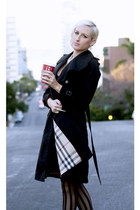 black trench coat Burberry coat - black lbd OASAP dress