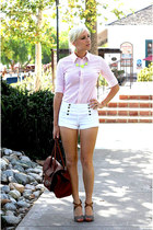 white Forever 21 shorts - bubble gum Ralph Lauren shirt - brown Bag bag