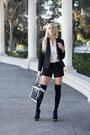 Black-dama-handbags-bag-white-button-down-h-m-shirt