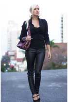 maroon studded bag Lorraine Tyne bag - black Zara leggings - black H&M blazer