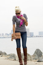 brown sam edelman boots - navy Hudsons jeans - navy striped H&M shirt