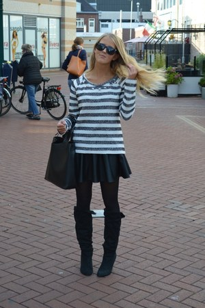 white striped sweater - black boots - black leather skirt